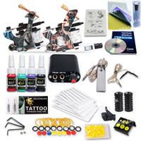 2 Guns beginner kits - Complete Tattoo Kit Guns Machines Colors Ink Sets Power Supply Disposable Needles Tips Grips HW GD