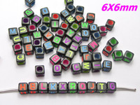 assorted pony beads - Black with Neon Color Assorted Alphabet Letter Cube Pony Beads X6mm