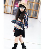 Wholesale Children S Hooded Poncho - HOT!! 2016 high quality New winter han edition girl Grid in the velvet children hooded cloak cloth coat to keep warm coat