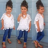 Cheap Summer Lace Denim Sets For Girls Solid White Hollow Outwear Shirts+Sling Vest+Jeans Pants 3PC Suits Clothing Children Costume Clothes
