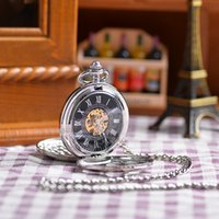 antique clock glass - New Arrival Open Sides Vine Retro Antique White Silver Father Men Gift Steampunk Mechanical Pocket Watch Hour Clock