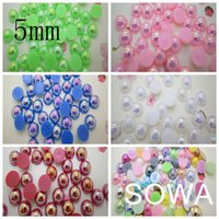 Wholesale mm AB Color Craft ABS Resin Flatback Half Round Pearls Flatback Scrapbook Beads DIY Nails