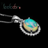australian opal pendant - 2014 Brand New Gem Multi Color Flash White Australian Genuine Fire Opal Oval Woman Pendant Necklace Solid Sterling Silver