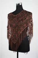 Wholesale EW crochet flower handmade bling with silver Rhinestone beaded tops poncho biniki cover