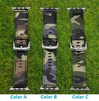 band cam - Camouflage Genuine Leather Apple Watch Band Navy Army Air Force Cam Sport Casual Bracelet Strap For iWatch Wachband With Adapter