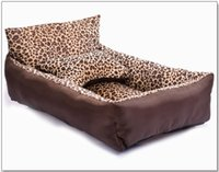 Wholesale New Hot Pet Supplies Pet beds Dog beds Cat beds Fashion Leopard pet nest washable pet nest kennel square dog bed kennel bowknot dogs bed