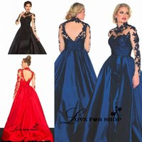 art deco figures - Plus Size Evening Prom Dresses High Neck Nude Sheer Top Long Sleeves Open Back Full Figure Lace Illusion Ball Gown Party Dress Navy Blue
