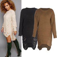 Wholesale 2016 Women Long Sleeve Oversized Ladies Knitted Long Sweater Jumper Winter Dress