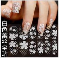 Wholesale 3D Nail Stickers Ultrathin Transparent White Lace Nail Tools Stickers Small Rhinestone Nails Stickers Hot AK046
