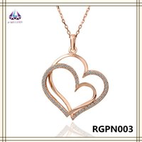 best selling jewellery - Jewellery Gold Double Heart Shape Pendant Ball Chain Necklace Full Of Crystal Best Selling