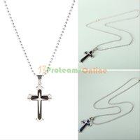 Wholesale NEW Fashion Unisex s Men Stainless Steel Cross Pendant Necklace Chain Black Blue