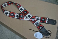 Wholesale New Jimi Hendrix star print Genuine leather ends Adjustable Acoustic Guitar Strap bass WITH PICKHOLDER