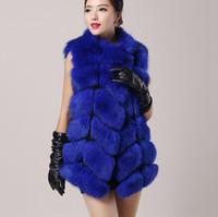 Wholesale top quality New real Luxury fox fur vest women dress winter jacket coat waistcoat long genuine fox fur waistcoat china factory