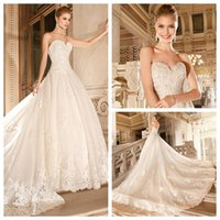 Cheap 2015 Ball Gown Wedding Dresses Organza Sweetheart Sleeveless Zipper Back Lace Appliqué Removable Cathedral Train Bridal Gowns Demetrios 4330
