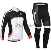 santini - 2014 santini men winter fleece cycling Jersey sets with long sleeve bike jacket bib pants in cycling clothing bicycle wear