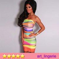 bandages song - Multicolor Ombre Strapless Mini Bandage Dress Fashion Color multi color bra Collar Sexy Song Perfect Show Mini Bandage Dress NO