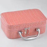 beauty jewelry organizers - New Fashion Stone Print leather Makeup Organizer For Women Hard Small Handbag Cosmetic Travel Beauty Jewelry Case