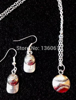 Wholesale 10Set Vintage Silver Softball Baseball Charms Statement Choker Necklace Earrings Pendant Fashion Jewelry Sets For Women Q620
