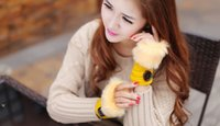 Wholesale 12 Pairs fashion buttons striped faux rabbit fur knitted Gloves Lady s Winter warmer Fingerless gloves Half fingers Gloves women Hand Wrist
