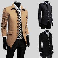 Wholesale 2015 Hot Men wool coat Men trench coats Stand up collar Slim Coat