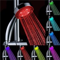 Wholesale RGB Colorful LED Shower Head Handheld Temperature Sensor Light Shower Head No Battery Bathroom Accessories