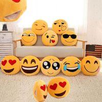 Wholesale 35cm Cushion Cute Lovely Emoji Smiley Pillows Cartoon Facial QQ Expression Cushion Pillows Yellow Round Pillow Stuffed Plush Toy HW
