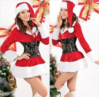 Wholesale 2014 New Fashion Women Christmas Lingerie Theme Costume Stage Sexy Dresses Santa Claus Red Lady Velvet Christmas Outfit Dress