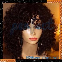 Brazilian hair african american hair curls - Brazilian virgin natural human hair wigs kinky curl wig african american afro curl wigs with baby hair for black woman