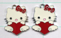 job lots - Job Jewelry Making Metal Figures Pendant Charms For Hello Kitty With loving heart CUTE