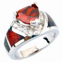 Wholesale fashion opal rings fire opal with Garnet red stone OR622K