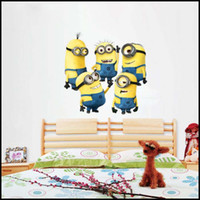 cartoon wall stickers - 2015 cartoon despicable me Minions wall stickers D wallpapers wall decals children removable wallpaper for kids room J062501