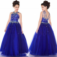 Wholesale custom made sparkly royal blue girl s pageant dresses with Beaded bodice rich layers skirt dress criss cross strappy back A line formal gown