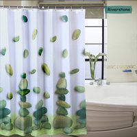 Wholesale Metal Buttonhole Brand New Riverstone pattern Shower Curtain High Quality Eco friendly Waterproof Bath Curtain