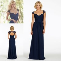 navy blue bridesmaid dresses - Hot Sale Navy Blue Bridesmaid Dresses Cheap A Line Lace Portrait Neck Capped Sleeves Open Back Chiffon Long Maid of Honor Gowns CGL01