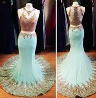 Wholesale Real Sample Pictures Turquoise Green Prom Dresses Party Evening Gold Lace Applique Beading Two Pieces Wedding Gown