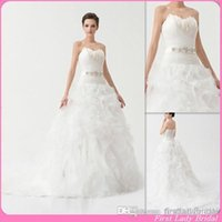 bridal dress china - 2015 Beautiful Winter Wedding Gowns Corset Strapless White Organza Appliqued Feather With Sash Bridal Dresses China Bride Dress Custom USA