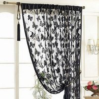 accessories dividers - 2015 Door Curtain Window Butterfly Pattern Tassel String Room Curtain Divider Scarf Beautiful Curtains Home Accessories