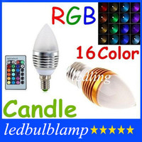 Wholesale 100pcs Frosted Cover E26 E27 E14 Led W Candle Lamp Colors Changeable RGB Led Bulbs Light AC110 V Silver Golden Body CE ROHS