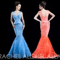 Cheap 2015 New Year Brilliant Scoop Mermaid Evening Dress Tiered Peplum Lace Prom Gowns Blue Orange E6347