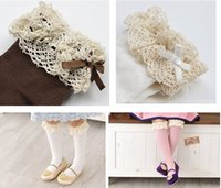 Wholesale New Baby girls socks kids Stockings classic knee boots high socks with lace solid color cotton