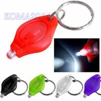 Wholesale white light mcd LED Flashlight White Torch Key Chains Ring Keyrings