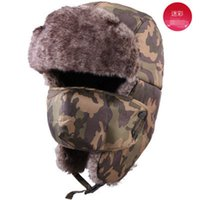Wholesale 2016 Unisex Winter Ear Fur Hat Windproof Hat with Face Mask Sports Outdoors Bomber Caps Casual Trapper Hat for Skiing
