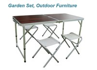 Wholesale Outdoor Camping Picnic Garden Sets Folding Tables and Chairs Garden Furniture Set Aluminum Alloy