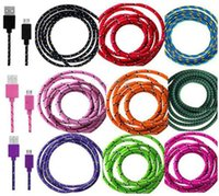 Wholesale Optional Fabric Braided Micro USB Cable M FT M FT M FT Color USB Data Sync Charger cable