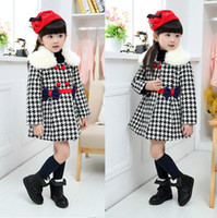 Wholesale 110 CM children Winter Plaid wool coat Autumn bow Nepalese wool plush collar long sleeved baby clothes jackets Christmas dress sets b23