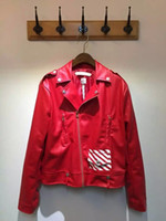Wholesale Fall Rare new US hip hop kanye west style off white men unisex classic stripe biker zipper manmade leather jacket red white