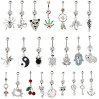 Wholesale 2015 Hot Sale Gem mixed different designs Belly Button Rings L Stainless Steel Navel Piercing Dangle Belly Rings Body Jewelry Gift