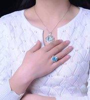 Nuevos sistemas de la joyería de la piedra preciosa del diseño de la manera de la llegada, 925 sistemas naturales de la joyería del Topaz azul de la plata esterlina