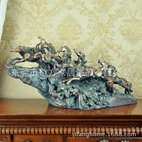 Wholesale High grade copper ornaments resin crafts eight horses galloping horse ornaments Home Decoration business gifts