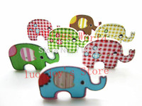 Wholesale 50Pcs Wooden Buttons Mixed Holes Elephants Pattern Buttons Scrapbooking Sewing Accessories Buttons Needlework x20mm B00057